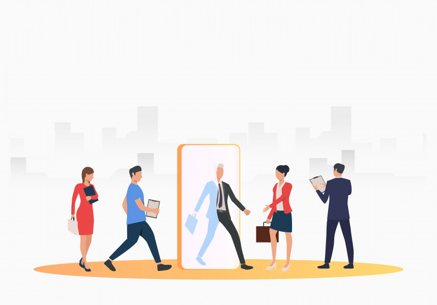 Business people searching for job applicants. HR, headhunting, hiring concept. Vector illustration can be used for topics like business, recruitment, employment
